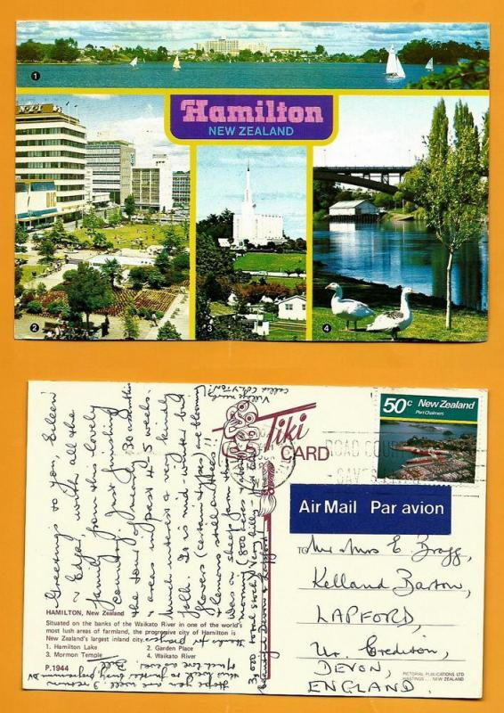 NEW ZEALAND POSTCARD-STAMP-HAMILTON