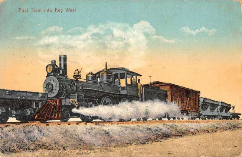 Key West Florida First Train Arriving Railroad Vintage Postcard AA382