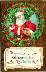 Vintage Christmas Postcard SANTA CLAUS w/ Toys / Holly Wreath - Dated 1910