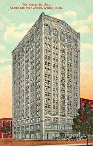 DETROIT MICHGIAN~THE S S KRESGE BUILDING-ADAMS & PARK STREETS-1915 POSTCARD