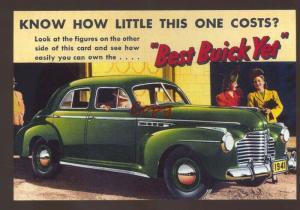 1941 BUICK SEDAN AUTOMOBILE CAR DEALER ADVERTISING POSTCARD '41 BUICK