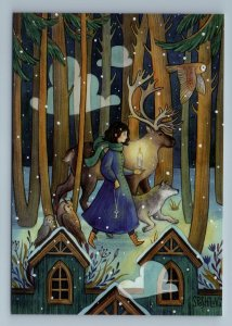 GIRL with Key Forest Animal Deer Wolf Owl Bird Snow Fantasy Russian New Postcard