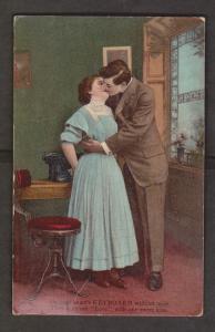 Romantic - Couple Kissing - Used 1909 - Slight Edge & Corner Wear
