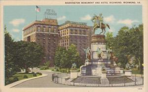 Washington Monument And Hotel Richmond Virginia