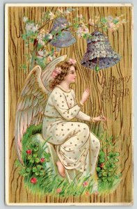 Easter~Pretty Angel Girl Rings Purple Flower Bell~Pink Blossoms~Gold Leaf GEL