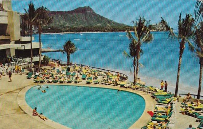 Hawaii Waikiki Beach Sheraton Hotel Swimming Pool 1972