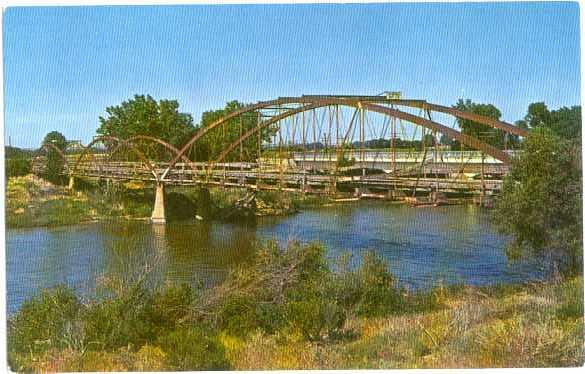 Old Army Bridge over Platte River near Fort Laramie Wyoming, WY, Chrome