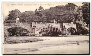 Old Postcard Metz monumental fountain terrace bordering the Esplanade
