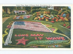 Linen PATRIOTIC USA FLAG DONE IN FLOWERS Providence Rhode Island RI AF7412
