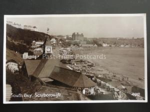Yorkshire SCARBOROUGH South Bay shows Clock Tower & Cafe c1938 RP Postcard