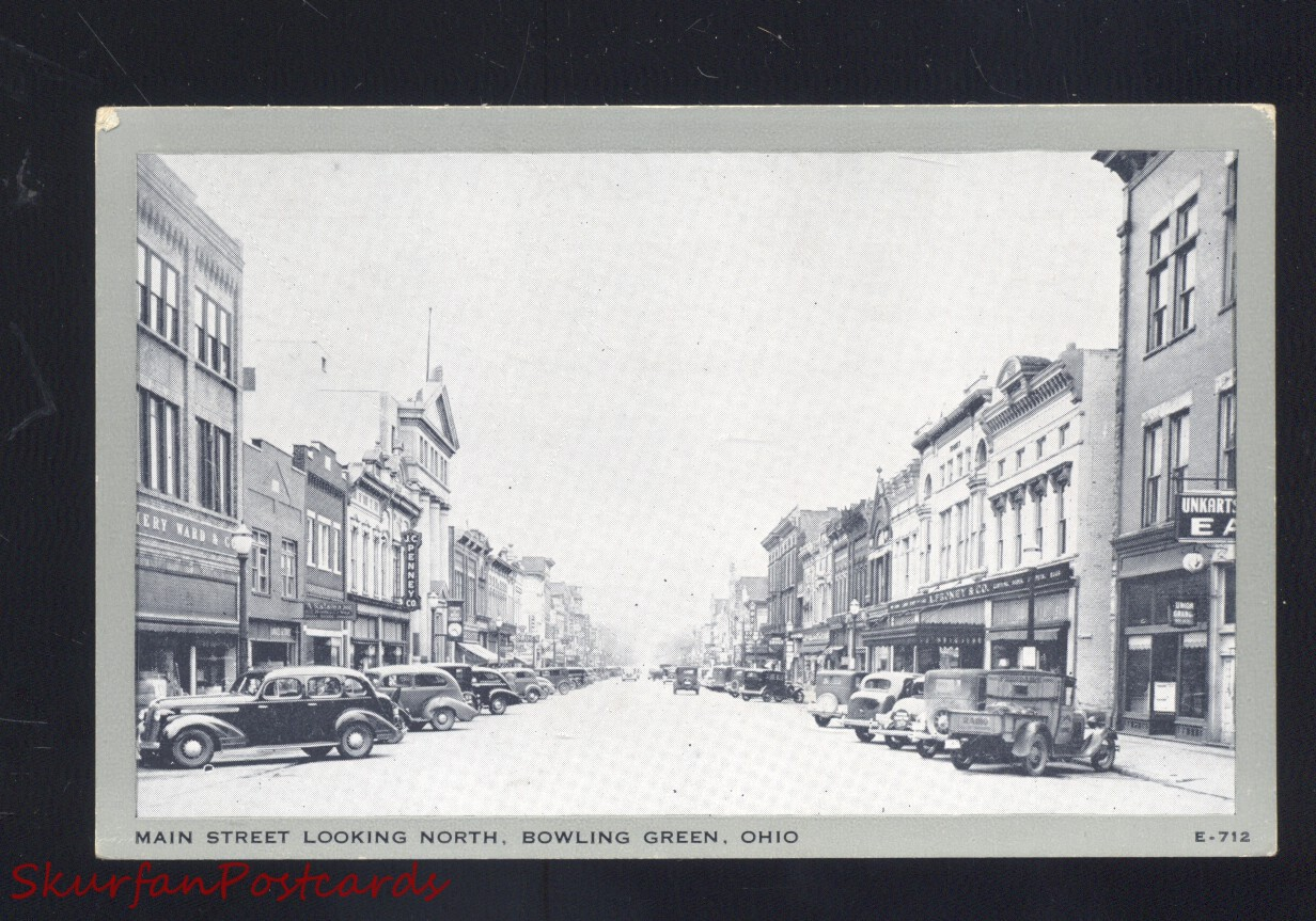 Bowling Green Ohio Downtown Main Street Scene 1930s Cars Old