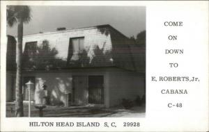 Hilton Head Island SC E. Roberts Jr. Cabana Real Photo Postcard 1974 Cancel