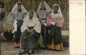 Manila Philippines Native Women Costumes Lace Head Scarfs c1905 Postcard