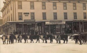 Hillsboro NH Storefronts Oxen Lawyers Office in 1911 Real Photo Postcard