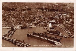 SOUTHAMPTON HAMPSHIRE UK~AERIAL VIEW OF THE FLOATING DOCK-PHOTO POSTCARD