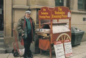 Yorkshire Evening Press Newspaper Vendor Life Boat Ship Headlines Postcard