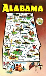 Map Of Alabama With Greetings