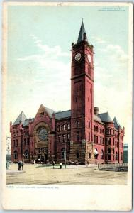 Indianapolis, Indiana Postcard UNION STATION Railroad Depot - Detroit Pub. 1908