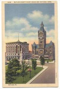 Butler County Court House,Nat'l Bank,Butler,PA,30-40s