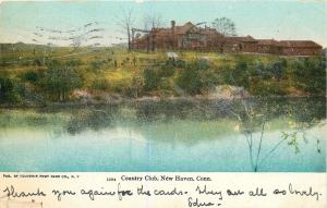New Haven Connecticut~Country Club on Hill~Overlooking Water~Brush Banks~1905 PC