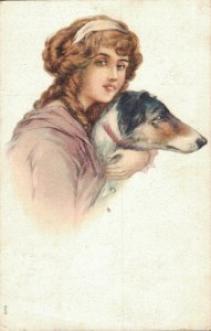 Beautiful woman cuddling a dog Litho 03.10