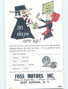 Pre-1980 Postcard Ad FOSS MOTORS 30 DAY NOTICE East Aurora New York NY HM4529