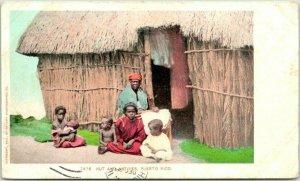 Vintage PUERTO RICO Postcard Hut and Natives Village Scene c1900s Unused