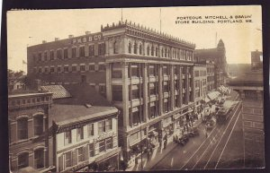 P1449 1922 used postcard st. scene porteous mitchell & braun bldg portland maine