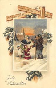 Green Suited Santa Meeting A Family Crossroads Christmas Embossed Postcard