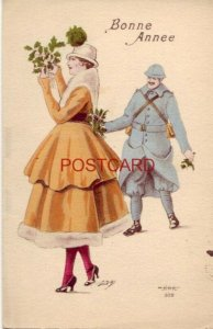 BONNE ANNEE (French - Happy New Year) man in uniform gives flowers to woman