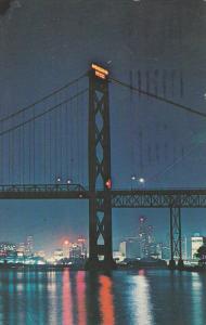Night View , Ambassador Bridge , WINDSOR , Ontario , Canada , PU-1966