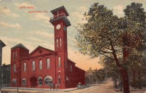 Altoona Pennsylvania~City Hall~Tall Clock & Bell Tower~Men on Corner~1908 PC