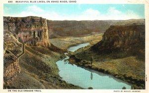Vintage Postcard 1930's On The Old Oregon Trail Blue Lakes On Snake River Idaho