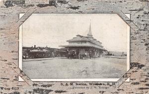 E6/ Wolfboro New Hampshire NH Postcard 1910 B&M Railroad Depot Wolfeboro 13