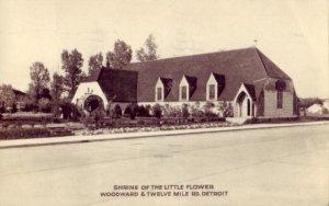 1936 RPPC SHRINE OF THE LITTLE FLOWER, WOODWARD & TWELVE MILE RD., DETROIT, MI