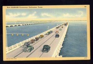 Galveston, Texas/TX Postcard, New $2,000,000 Causeway, Old Cars