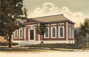 Ludlow Vermont~Fletcher Memorial Library~Young Trees Shored Up~1905 UDB Postcard