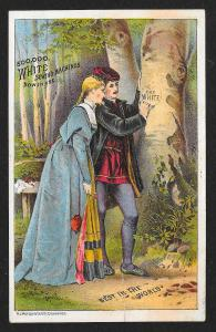 VICTORIAN TRADE CARD White Sewing Co Man & Woman Carving 'The White' into Tree
