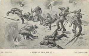 World War I Guerre 1914  Sous le feu du 75  grenades Photo Merlaud Paris
