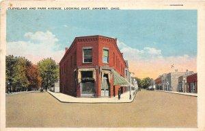 G33/ Amherst Ohio Postcard c1910 Cleveland Park Ave Stores Lorain