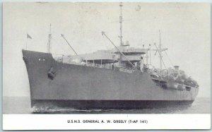 Vintage U.S. Navy Ship Postcard U.S.N.S. GENERAL A.W. GREELEY (T-AP 141) Unused