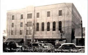RPPC GRASS VALLEY, CA California   The MASONIC BUILDING  c1930s Cars  Postcard