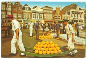 Netherlands, The Cheese-market of Alkmaar, used Postcard