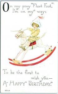 1910s F.A. Owen HAPPY BIRTHDAY Postcard On My Pony Fleet Foot I'm on My Way…