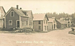 Bryant Pond ME Street View Houses in 1913 Real Photo Postcard