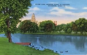Rochester MN Silver Lake Vintage Linen Unused Postcard D12