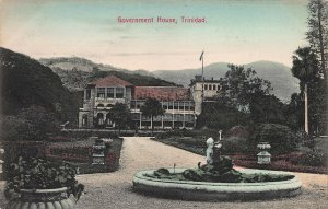 Government House, Trinidad, Early Hand Colored Postcard, Unused