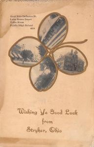 Wishing Ye Good Luck From Stryker Ohio~Inside Shamrock: Defiance St~Depot~1908