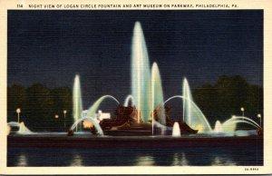 Pennsylvania Philadelphia Logan Circle Fountain and Art Museum At Night Curteich