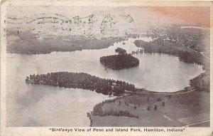 F60/ Hamilton Indiana Postcard 1929 Birdseye Penn and Island Park